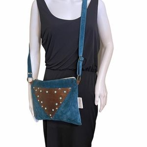 Turquoise Suede Leather Patch Studded Crossbody